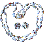 1950's Vintage OP ART & Crystal Double Strand Japanese Glass Bead Necklace & Earrings Set