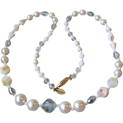 Vendome Winter Wedding White Aurora Borealis Crystal Glass Bead Faux Pearl Necklace