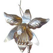 Taxco Mexico Vintage Sterling Silver ORCHID Iris Flower Pin, 1950's Modernist, Eagle 3 Mark