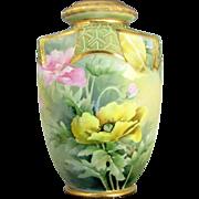 Vintage ART DECO NIPPON POPPY Vase Urn HP Floral Enamel Beading Jewels Gold Trim