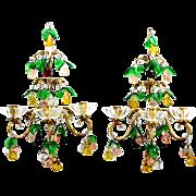Vintage ITALIAN GLASS FRUIT Candle Sconce Pair Venetian Sconce Rare