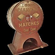 SALE Early 1900s Diamond Matchbook Vending Machine - Vintage Advertising Counter Dispenser
