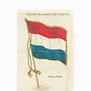 SALE c1590 Holland - Netherlands National  Flag - Vintage Early 1900s Sovereign Cigarette Silk