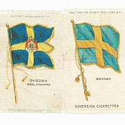 SALE 1906 Sweden National Flag & Swedish Royal Standard - 2 Scandinavia National Flags - ...