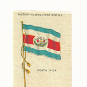 SALE 1906 Costa Rica National Flag - Vintage Early 1900's Sovereign Cigarette Silk - American