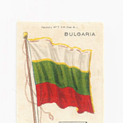 SALE Large Bulgaria 1879 First National Flag -  Vintage Early 1900's Nebo Cigarette Silk - Ame