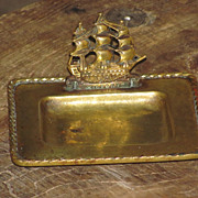"SALE c1922 Vintage English Brass Card Receiver Desk Tray - Famous British H.M.S Ship ""Victor"