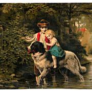 Landseer Newfoundland Dog Vintage Victorian Chromolithograph Card Album Scrap - Rural Wooded V