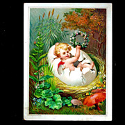 c1890 Victorian Winged Fairy-Pixie-Sprite Antique Embossed Chromolithograph Card - Spring Seas
