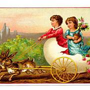 SALE PENDING c1890s Victorian Card Album Antique  Scrap - Easter Rabbit Team and Egg Shell Car