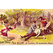 1870s Patent Medicine Victorian Advertising Trade Card Im Deutsch- Perry Davis Pain Killer - G