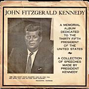 Circa 1963 President John F. Kennedy Assassination Memorial Vinyl Phonograph 45 RPM Record Alb