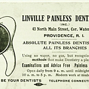 "SALE c1920 Dentist Advertising Trade Card – ""Absolute Painless Dentistry"" – Linville P"