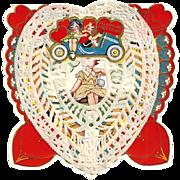 SALE 1920s Toy Automobile Car Children's Paper Lace Vintage Valentine - Toy Automobile - Art D