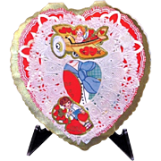 SALE 1920s Children's Paper Lace Cherub Vintage Flying Airplane Valentine - Blonde Girl - Em