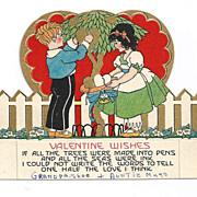 1920s Art Deco Children's Vintage Valentine - Gold Leaf - Vivid Color Lithography - Cut-out
