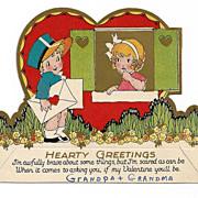 1920s Art Deco Children's Vintage Valentine - Little Boy Mailman in Blue – Red-Headed Girl