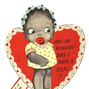 1920s African American Children's Vintage Valentine - Black Americana Little Girl Caricature