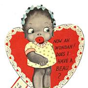 1920s African American Children's Vintage Valentine - Black Americana Little Girl Caricature