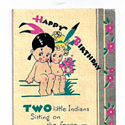 "c1937 Two Naked ""Indian"" Cartoon Native American Little Girls Vintage Linen Card - 2"