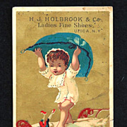 1880s French Language Fantasy Victorian Advertising Trade Card for Ladies Fine Shoe ...