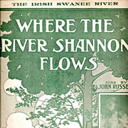 SALE Irish American Song Sheet Music – Where the River Shannon Flows - 19th Century Traditio