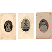 SALE c1860s Girl Child Hand-Tinted Tintype Portraits (3) - Perhaps The Same Girl at Different