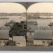 SALE c1930s Gloucester Fishing Fleet Real Photo Stereo View - Gloucester Massachusetts Inner H