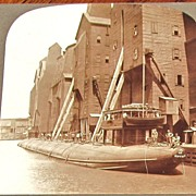 1890s Chicago Great Lakes Grain Cargo Ship Vintage Real Photo Stereo View - Unusual  Whaleback