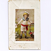 SALE 1910 Austrian Sailor Boy Child Vintage Postcard - Blonde-Headed Boy - Sailor Suit - Emper