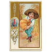 SALE 1924 Thanksgiving Holiday Greeting Vintage Postcard - Turkey - Harvest Pumpkins - Farmer