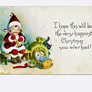 SALE c1918 Christmas Saint Nicholas Cartoon Greeting Vintage Postcard – Child Santa Claus Pu