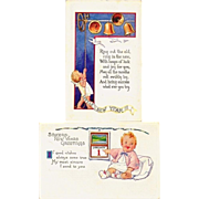 SALE c1925 New Years Baby Greeting Vintage Postcards - Embossed - Rhyming Couplet Poems