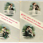 SALE 2 c1910 Polish Language Love Poetry Romantic Courting Vintage Postcards - Hi-Gloss Gelati
