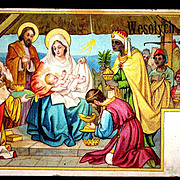 c1910 Religious Christmas Nativity Vintage Postcard - Baby Jesus - Magi Bearing Gifts - Holy F
