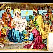 c1910 Religious Christmas Nativity Vintage Postcard - Baby Jesus - Magi Bearing Gifts - Holy .