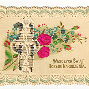 c1910 Red Roses Paper-Lace Christmas Greeting / Gift Vintage Card - Polish Language Greeting -