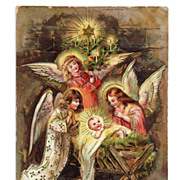 SALE c1910 Religious Christmas Nativity Vintage Postcard - Baby Jesus in Manger - Child-Like .