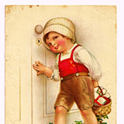 c1929 Christmas Greeting American Made Vintage Postcard – Leather-Clad Girl Child Delivering