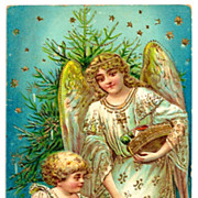 c1907 Christmas Angel, Tree, Toys and Child Vintage Postcard - Heavily Embossed with Bright ..