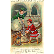 SALE 1909 CHRISTMAS / NEW YEAR Holiday Postcard - Winged Angel Boys Filling Bags with Silver C