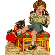 c1920s Black Cat Children's Valentine Vintage  German-Made Card - c1900-1915 Telephone - Boy i