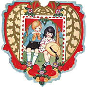 SALE c1920 Boy-and-Girl Children's Paper Valentine Vintage Card - Embossed Die-cut Color Lit