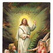SALE c1905 Religious Easter Polish Language Greeting Vintage Postcard - Risen Christ Jesus - W