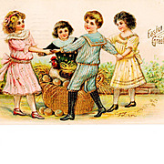 c1908 Easter Greeting Postcard - Gilt Trimmed Dancing Children, Hen and Golden Eggs - German-M