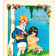 SALE c1920 Whitney-Made Easter Greeting Postcard - Embossed Art Deco Children Chromolithograph