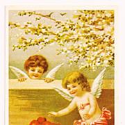 SALE Vintage Mid 1930s Depression Era Valentine Postcard – Blonde and Red-headed Cupids –
