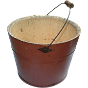 Shaker Society Mount Lebanon Village Community Vintage Antique 19th Century Red Wooden Bucket