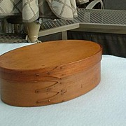 SOLD Vintage Shaker Society Three-Finger Oval Box and Cover in Plain Wood Finish - Very Large