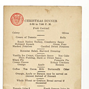 SALE 1932 Harvard University Vintage Memorabilia - Harvard Union 1932 Christmas Dinner Menu -